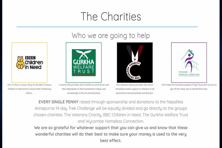 Charity campaign website page portfolio item