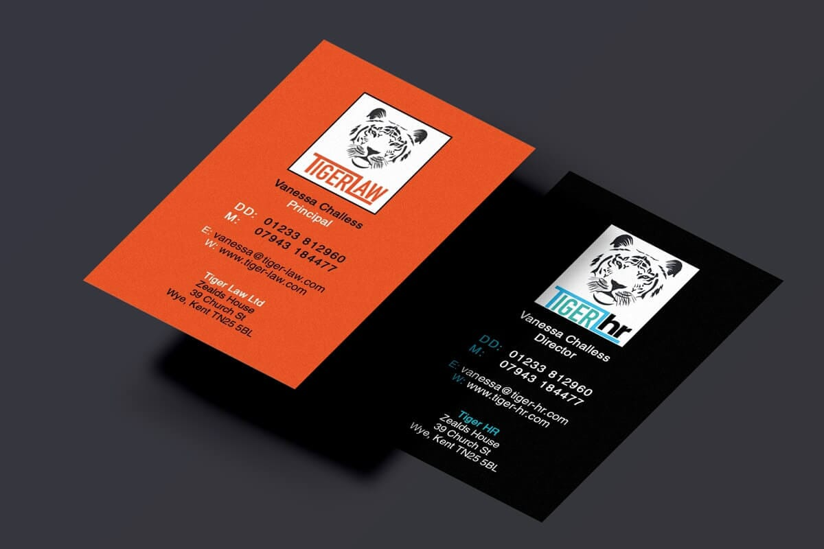 2 sided business cards in black and orange, cool design by Here's the Cavalry