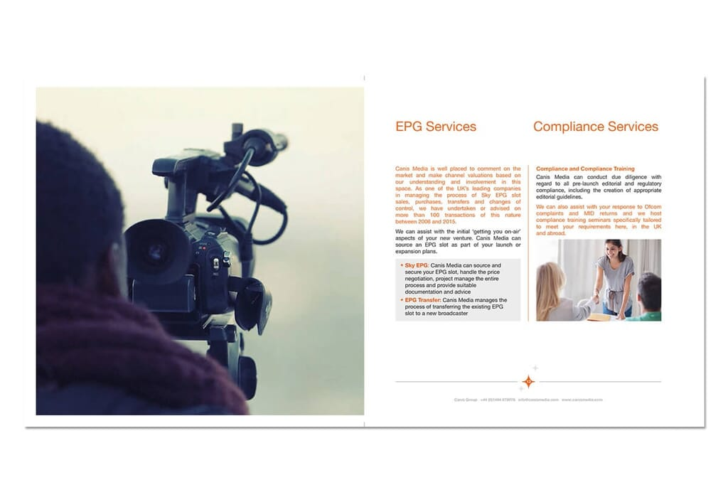 mock up of brochure page