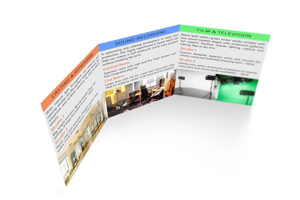 mockup of small trifold brochure