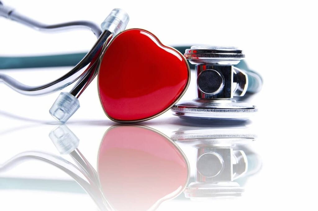 stethoscope with red heart detail