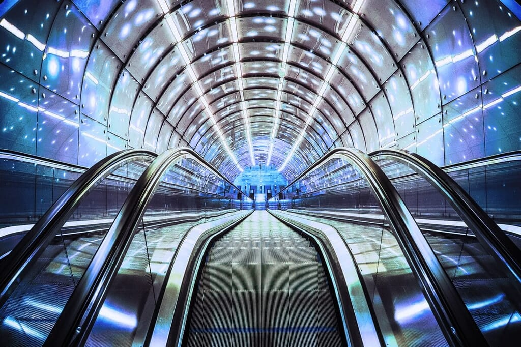 shiny space agey escalator