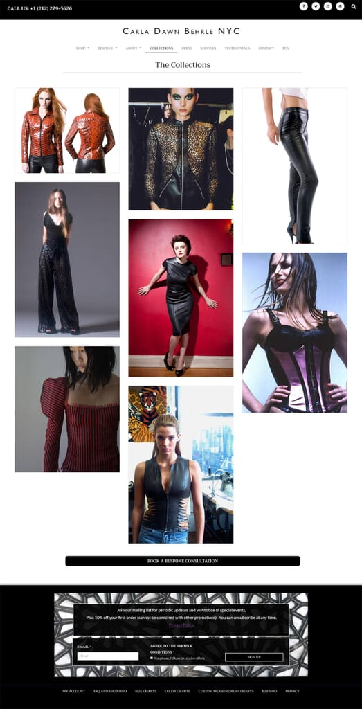 collections page from website here's the cavalry built of Carla D Behrle NYC