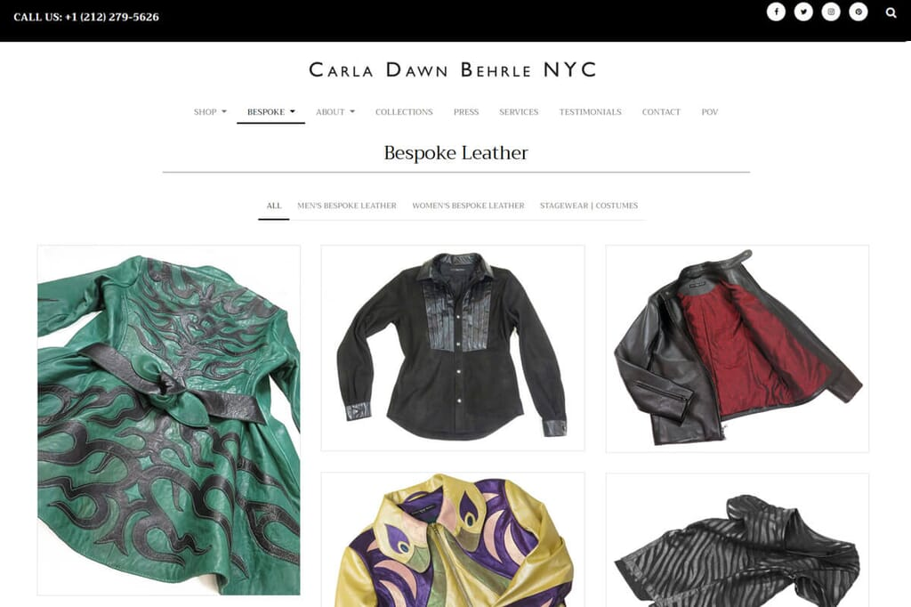 Bespoke leather items in Carla D Behrle's online shop