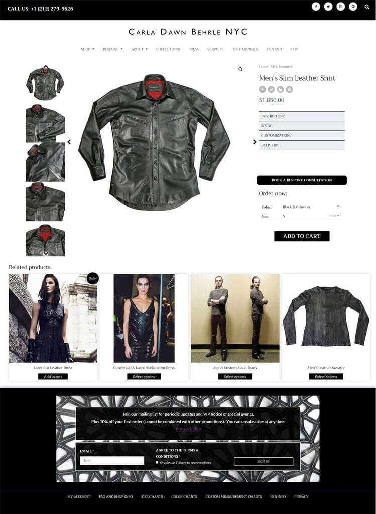 Men's Slim Leather Shirt from Carla Behrle's online shop